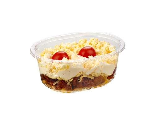 Narvesen layered salad with croutons. Price from